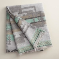 Blue Tribal Throw with Fringe