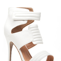 White Faux Leather Quilted Single Sole Heels