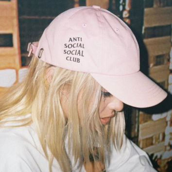 Anti Social Social Club Baseball Hat Cap Pink White Unisex