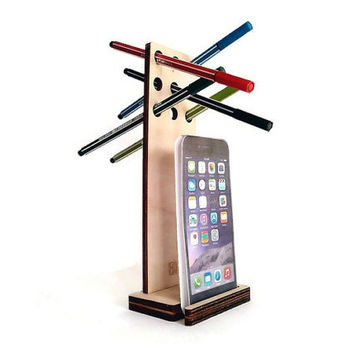 Laser cut wood phone holder,wooden pen pencil holder,wood office desk accessories,desk accessory,wooden desk organizer,desktop accessories