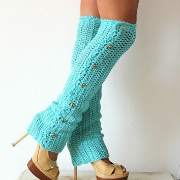 Dance Til Dawn Leg Warmers in Aqua by mademoisellemermaid on Etsy