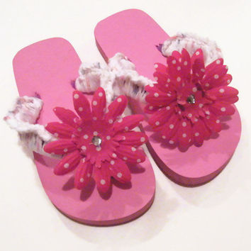 Easter Gift, Girls Flip Flops, Childrens Flip Flops, Crochet Flip Flops, Summer Accessory, Beach Sandals