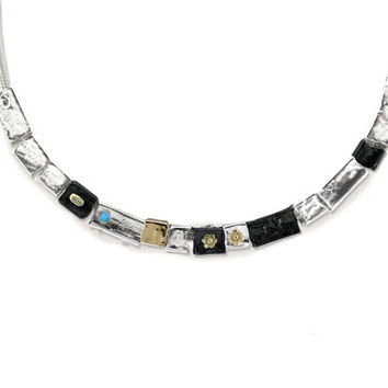 """Silver Necklace With A 9K Gold Elements Connected to A 925 Silver Chain 18"""" Designed by Talma Keshet"""