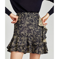 FLORAL SKIRT WITH DOUBLE RUFFLE