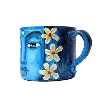Indian handmade terracotta blue painted decorative Mug