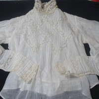 Antique Victorian Girl's Blouse, Pin Tucks, Lace, Leg of Mutton Sleeves, Ivory Cotton Gauze, Lace Covered Buttons, Lace Trim, 22 In. Waist