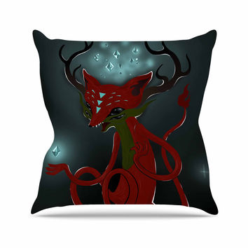 "Anya Volk ""Magic Fox"" Teal Fantasy Throw Pillow"