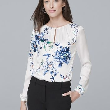 White House Black Market Gathered-Detail Floral-Print Blouse