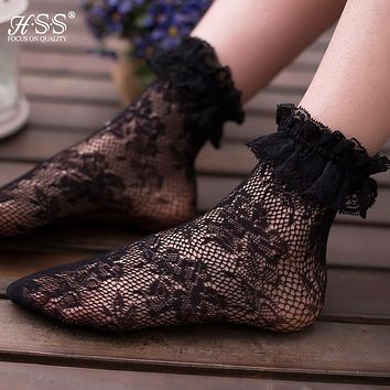 HSS Fashion Women Girls Lace Socks Hollow Harajuku Lovely Cute Vintage Retro Lolita princess Wedding Lady lace sock Black sox