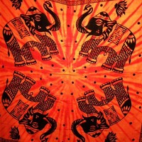Four Elephants Tapestry Orange - Mellow Mood