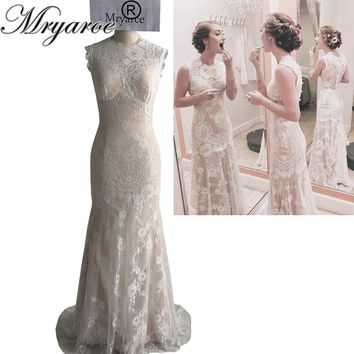 Mryarce Unique Design Vintage Exquisite French Lace Mermaid Wedding Dresses 2017 Rustic Birdal Gowns vestido de noiva