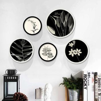 HAOCHU Nordic Canvas Painting Black and White Plant Round Decorative Poster Simple Modern Hanging And Restaurant Nordic Wall Art