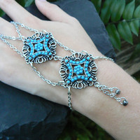 turquoise filigree slave bracelet turquoise filigree medallions tribal fusion belly dancer  boho hipster resort wear  style