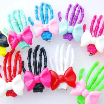 Halloween Skeleton Bone Hand Bow Bowtie Hair Clip 1 Piece