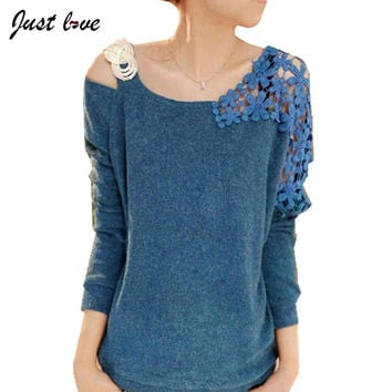 2017 New Fashion And Casual Autumn Winter Elegant Women Clothing Long Sleeve Pullover Sweater Strapless Lace All Much Crochet