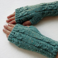 FREE SHIPPING Fingerless Gloves in Teal Green Women Gloves Winter Wrist Warmers Handmade Wool Gloves Knit Women Accessories Knit Gift Boho