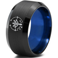 Zelda Breath of the Wild Eye Black Beveled Blue Tungsten Ring