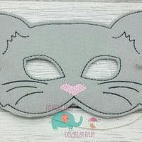 Gray cat mask embroidered, dress up, dressup, dress-up kids pretend party favor grab bag make believe kitty meow animal pet
