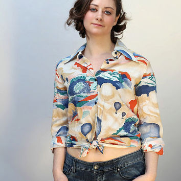 1970s vintage Japanese button up shirt with hot air balloon motif / modern US size M