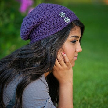 Slouchy Beanie with Buttons- Plum