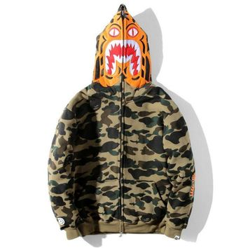 Bape Aape  Autumn Winter Classic Fashion Women Men Green Camouflage Tiger Head Shark Mouth Embroidery Hoodie Velvet Sweatshirt Zipper Cardigan Jacket Coat I13811-1