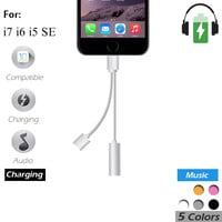 The same time Charging and headphones 2 in 1 For IPhone 7/ IPhone7 Plus Jack USB Charger AUX Cable 3.5mm Female Converter