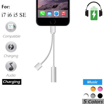 The same time Charging and headphones 2 in 1 For IPhone 7 IPhone7 Plus Jack USB Charger AUX Cable 3.5mm Female Converter
