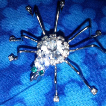 Silver Tone Spider Brooch Pin With White and Green Rhinestones