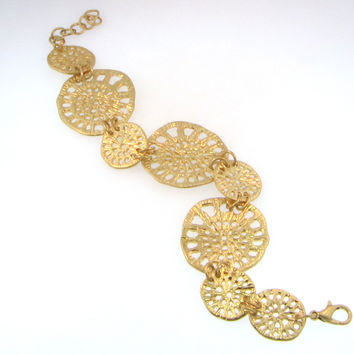 Matte Gold Multi Filigree Disc Bracelet