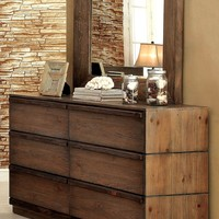 Banas Transitional 6-Drawer Dresser and Mirror in Natural