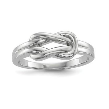 Sterling Silver Infinity Solid Band Love Knot Ring