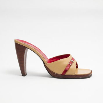 1990's Beige Red Wooden Mules - Vintage 1950's Leather Platforms Buckle High Bombshell Heel Sandals Red Trim Summer Shoes Size 40 EU, 9 US