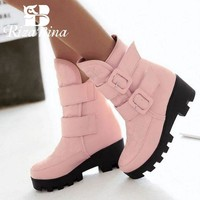 Mid calf warm winter snow boots