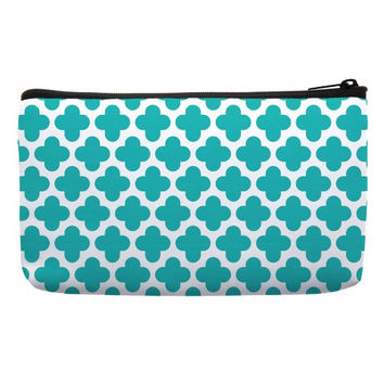 Small Cosmetic Bag in clover pattern in turquoise green color for makeup bag best cosmetic pouch