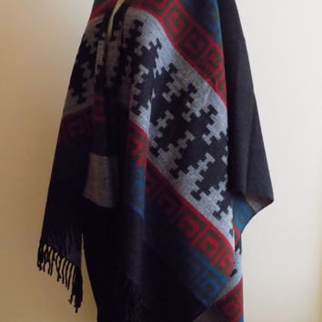 Black Cape,Tribal Poncho Outerwear , black red Coat Women Clothing Fashion Accessories Women Wear Aztec Poncho Ethnic Poncho Tribal Poncho