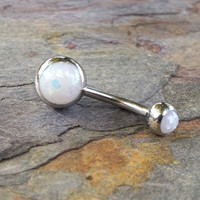 White Opal Belly Button Ring Synthetic Opal