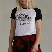 Gypsy Warrior Cropped Raglan T-Shirt - Womens Tee - Black