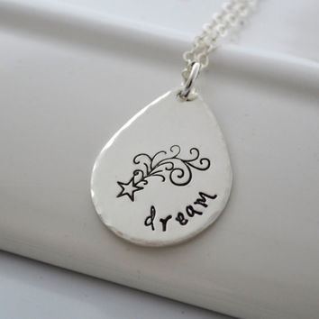 Shooting Star Hand Stamped Necklace   Dream Inspire Wish