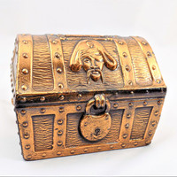 Metal Treasure Chest Bank, Pirate Chest, Skulls and Crossbones, Vintage Bank, Made in USA