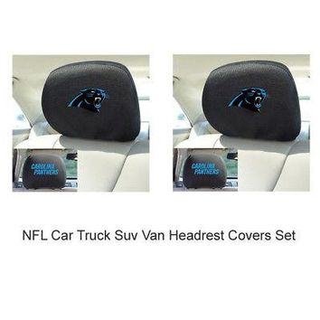 Licensed Official New 2pc NFL Carolina Panthers Automotive Gear Car Truck Headrest Covers Set