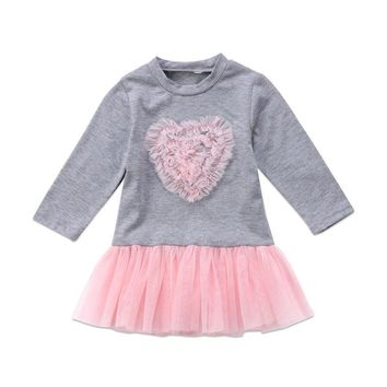 Fashion Casual Toddler Kids Baby Girl Long Sleeve Cotton Dress Lace Tutu Dress Outfits Clothes Mini Dresses Gray 0-4T