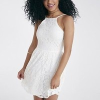 White Ivory High Neck Lace Skater Dress By Wet Seal Size M