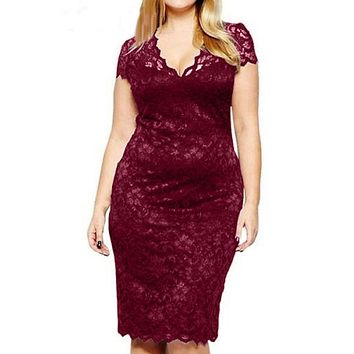 Solid Short Sleeve V-Neck Lace Hollow out Dress Vestido