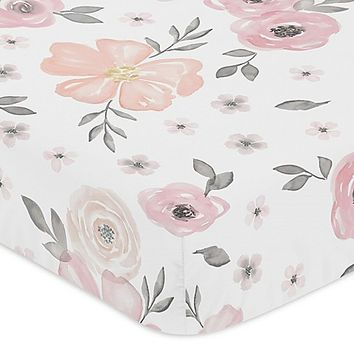 Sweet Jojo Designs Watercolor Floral Fitted Crib Sheet in Pink/Grey