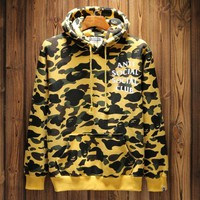 BAPE Camouflage letters sweater Hedging Hooded pullover long sleeve Sports TOP