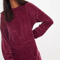 Burgundy Velvet Pocket Sweater Dress