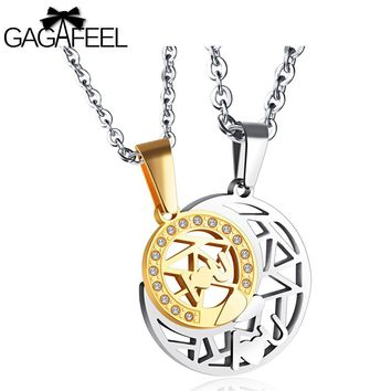 GAGAFEEL Lover's Necklace Stainless Steel Moon Star Pendants For Men Women Jewelry Clear Zircon Chain For Male Female Couple