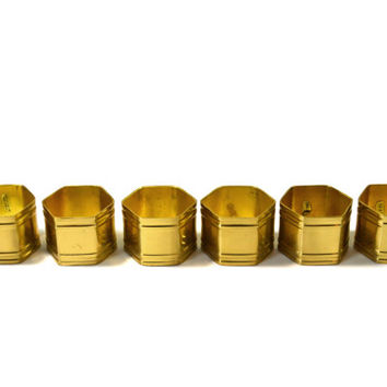 Vintage Brass Hexagon Napkin Rings Brass Napkin Rings Set of 6 Set of Gold Napkin Rings Hexagon Napkin Rings