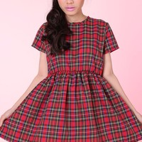 Made To Order -Red Tartan Baby Doll Mini Dress
