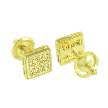 Yellow Gold Tone Earrings Square Shape Canary Simulated Diamonds